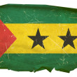 Stock Photo: Sao Tome Flag old, isolated on white bac