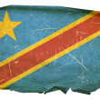 Stock Photo: DR Congo Flag old, isolated on white bac