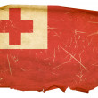 Tonga Flag old, isolated on white backgr - Stock Photo