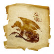 Dragon Zodiac icon, isolated on white ba — Stock Photo