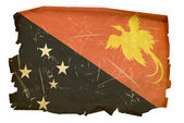 Papua New Guinea flag old, isolated on w — Stock Photo