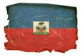 Haiti Flag old, isolated on white backgr — Stock Photo