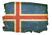 Iceland Flag old, isolated on white back — Stock Photo