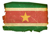 Suriname flag old, isolated on white bac — Stock Photo