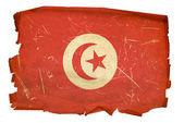 Tunisia Flag old, isolated on white back — Stock Photo