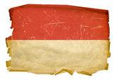 Monaco flag old, isolated on white backg — Stock Photo