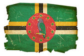 Dominica flag old, isolated on white bac — Stock Photo