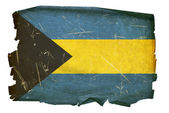 Bahamas Flag old, isolated on white back — Stock Photo