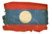 Laos Flag old, isolated on white backgro — Stock Photo
