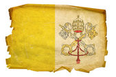 Vatican Flag old, isolated on white back — Stock Photo