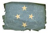 Micronesia Flag old, isolated on white b — Stock Photo