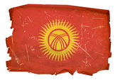 Kyrgyzstan Flag old, isolated on white b — Stock Photo