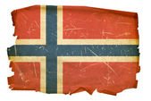 Norwegian Flag old, isolated on white ba — Stock Photo