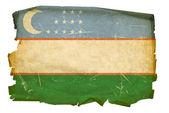 Uzbekistan Flag old, isolated on white b — Stock Photo