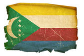 Comoros Flag old, isolated on white back — Stock Photo