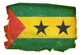 Sao Tome Flag old, isolated on white bac — Stock Photo