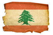 Lebanese Flag old, isolated on white bac — Stock Photo