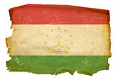 Tajikistan Flag old, isolated on white b — Stock Photo