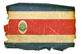 Costa Rica flag old, isolated on white b — Stock Photo
