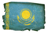 Kazakhstan Flag old, isolated on white b — Stock Photo