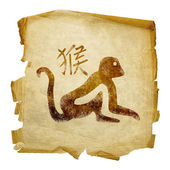 Monkey Zodiac icon, isolated on white b — Stock Photo