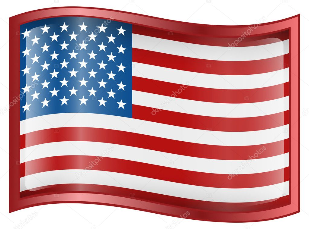 USA flag icon, isolated on white background — Stock Vector #1553058
