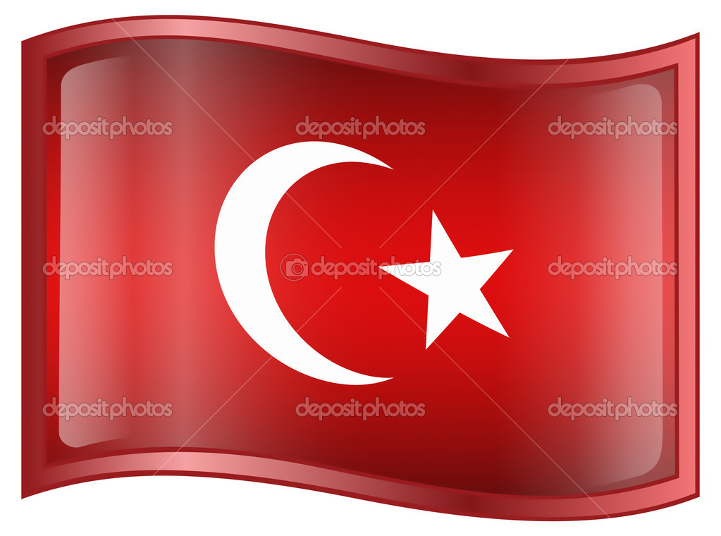 Turkey Flag Icon, isolated on white background. — Stock Vector #1553129
