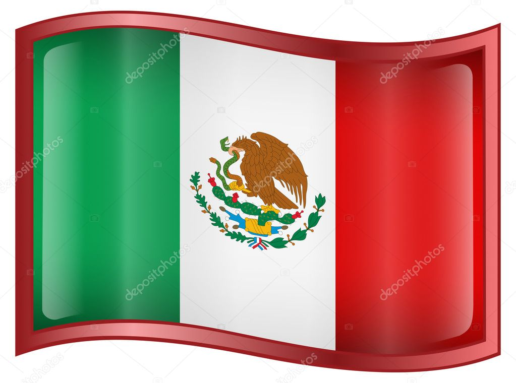 Mexico Flag Icon, isolated on white background. — Stock Vector #1562079