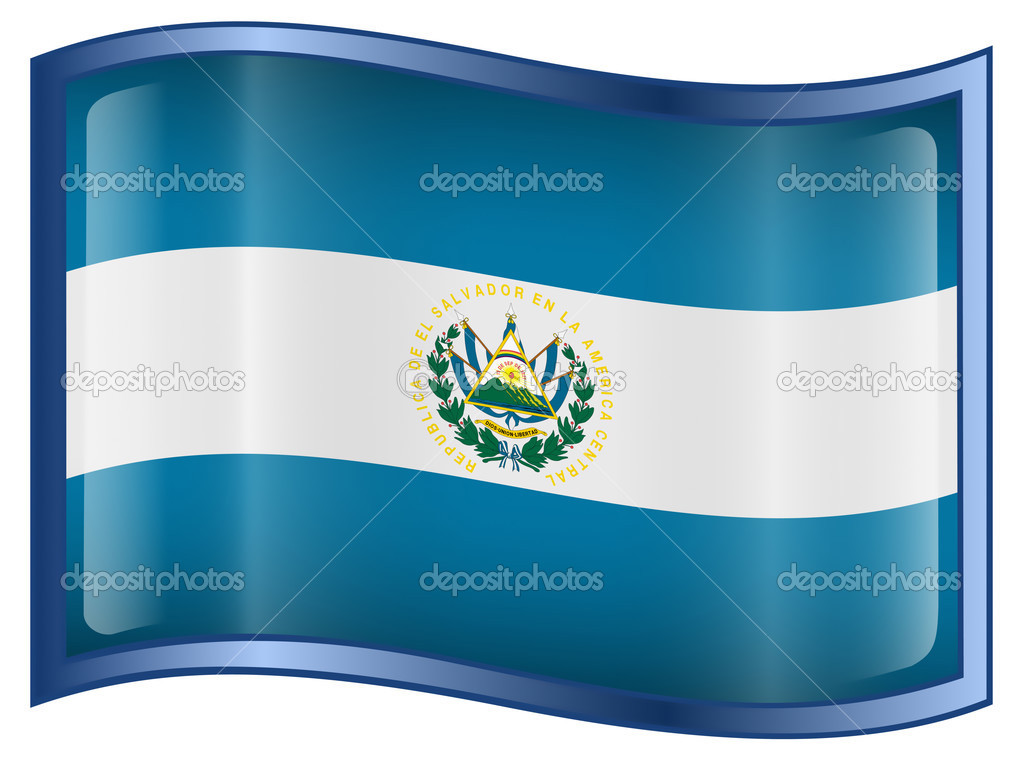 El Salvador Flag icon, isolated on white background. — Vettoriali Stock  #1563526