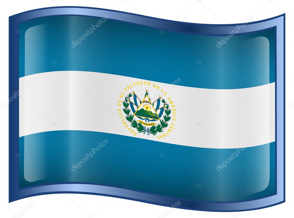El Salvador Flag icon, isolated on white background. — ベクター素材ストック #1563526