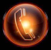 Oranžová ikona telefonu — Stock fotografie