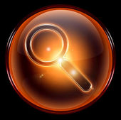 Search and magnifier icon orange — Stock Photo