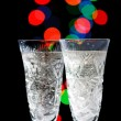 Champagne Glasses  with Sparkling Ligh - Stock Photo