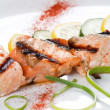 Grilled salmon with lemon — Stock Photo