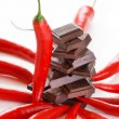 Dark chocolate and chili pepper - Stock Photo