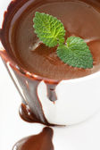 Hot chocolate with mint — Stock Photo