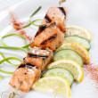 Grilled salmon with lemon — Stock Photo #1120014