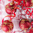 Red Christmas balls — Foto de stock #1124753