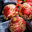 Foto Stock: Red Christmas balls