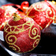 Red Christmas balls - Stockfoto