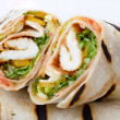Tortilla Wrap Cut in Half - Stock Photo
