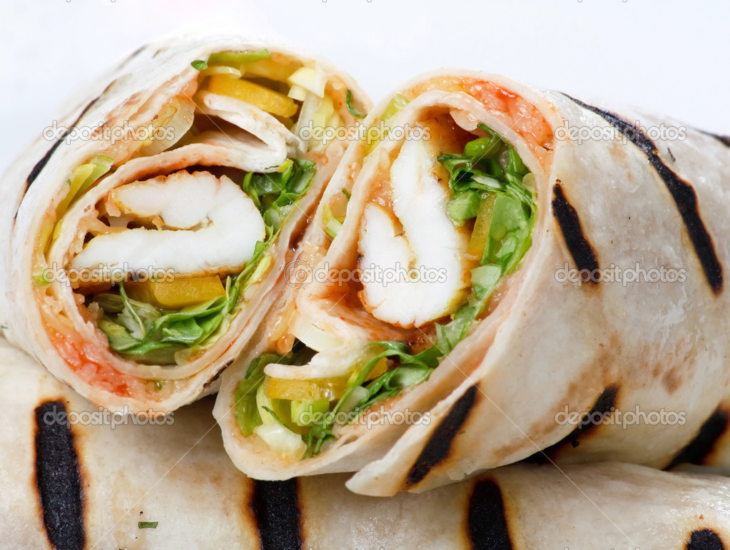Tortilla Wrap Cut in Half  Stock Photo #1125809