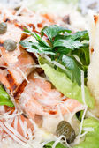 Salad with grilled salmon fillet — Stock Photo