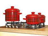 The gas-stove with saucepans set — Stock Photo