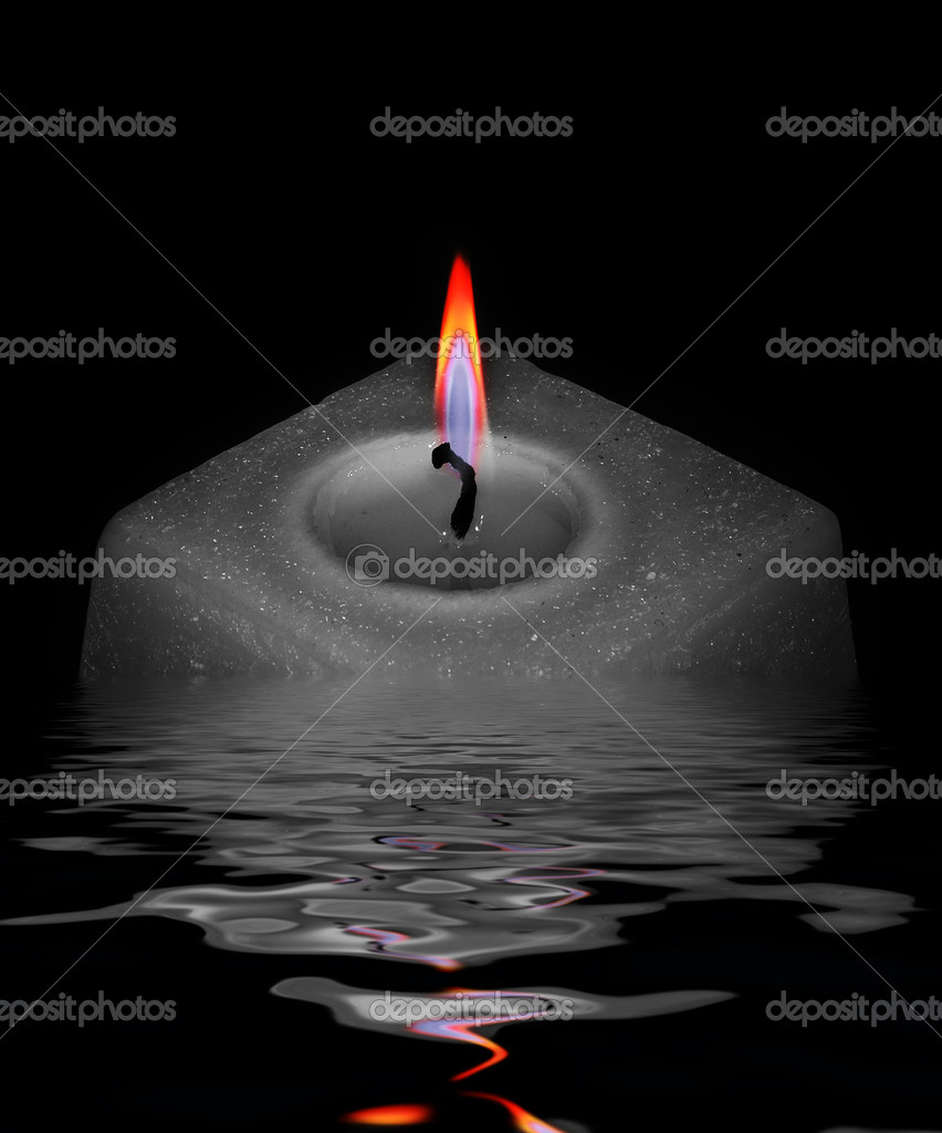 Grey candle in water, in black — Stock Photo #1049751