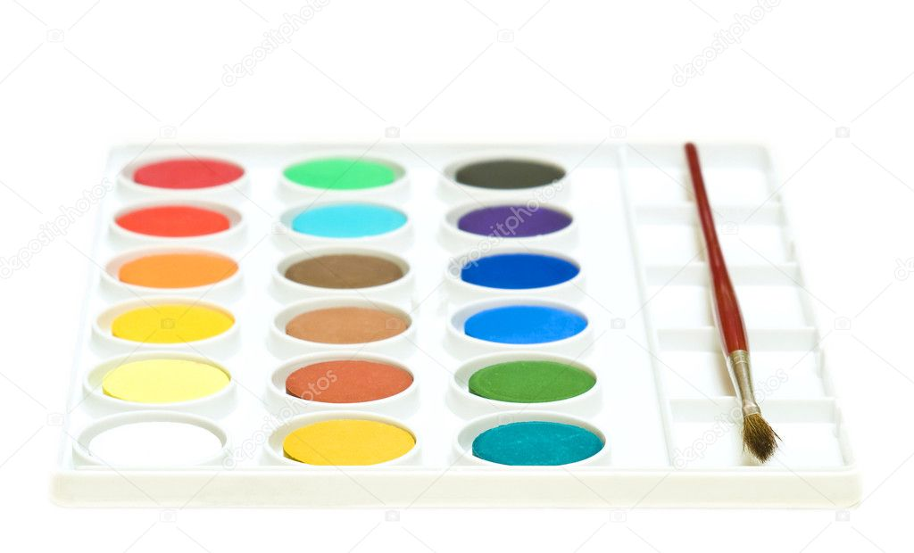 Watercolours with brush complete set — Stock Photo #1129372
