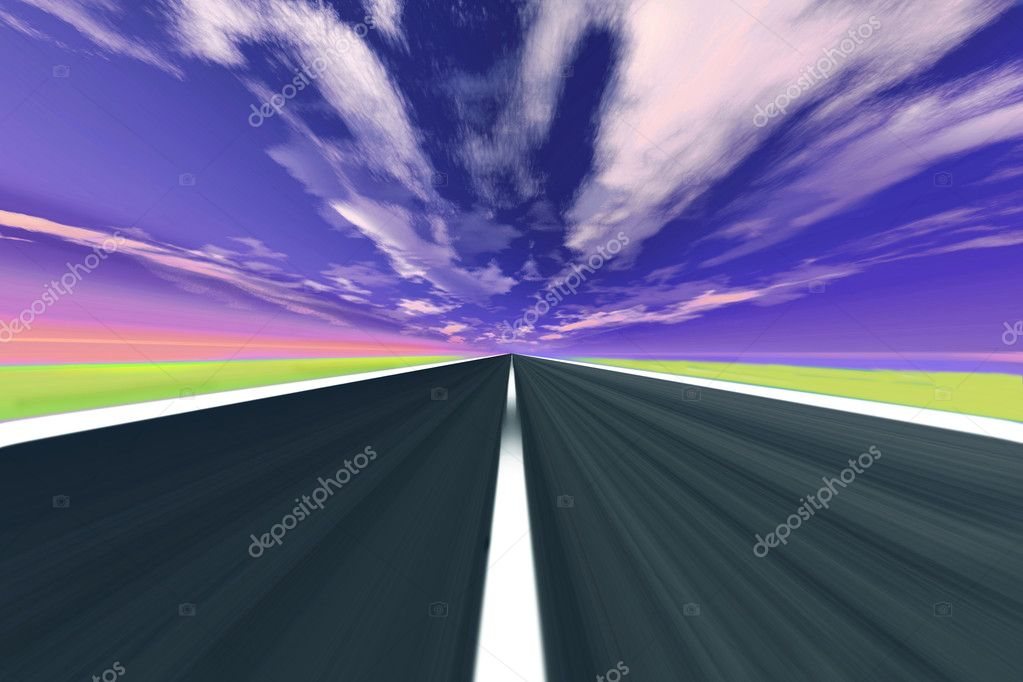 Straight highway in blurry motion — Stock Photo #1203579