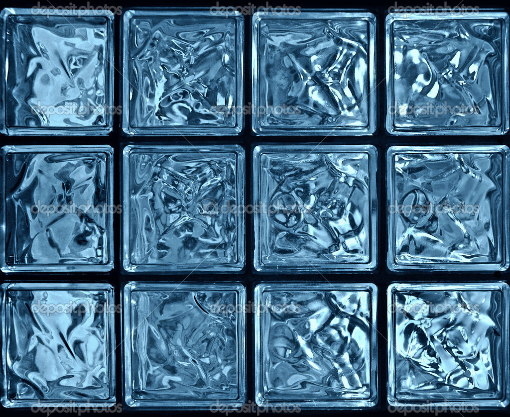 Blue glass blocks, closeup         #2159848