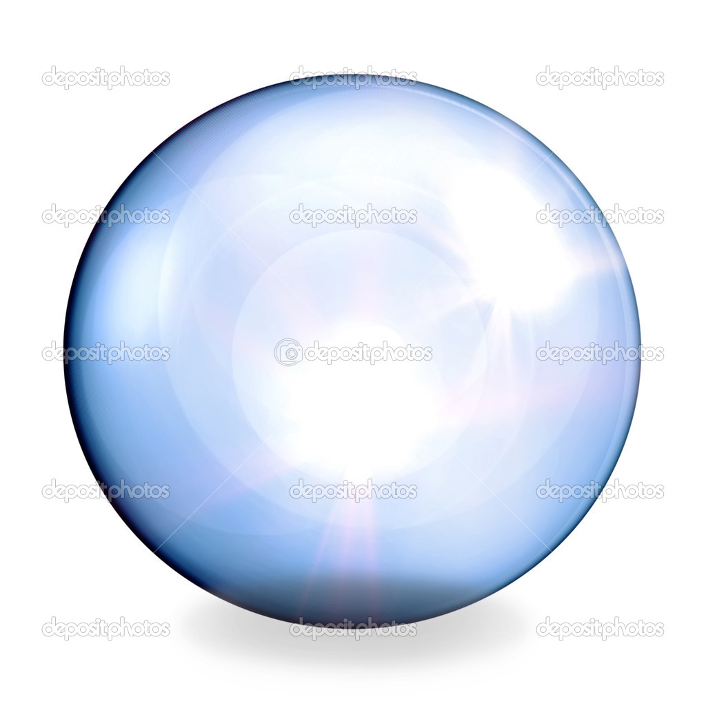 Blue glassy sphere on white — Stock Photo #2541646