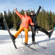 Couple on Snow Skis - Stock Photo